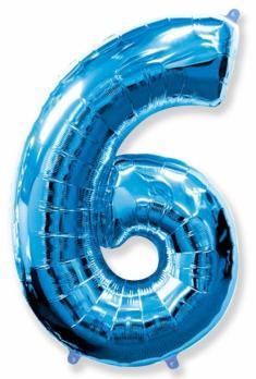 """Шар """"Цифра 6"""" Синий"""