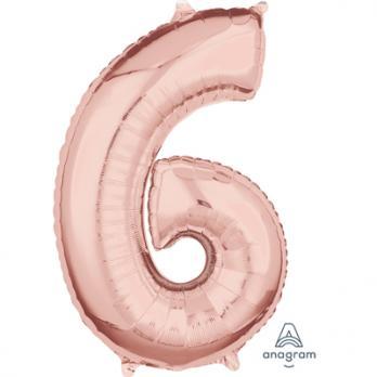 Шар Цифра 6 65см Розовое золото