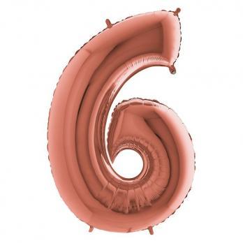 Шар Цифра 6 Розовое золото