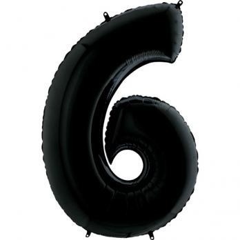 """Шар """"Цифра 6"""" Черный"""