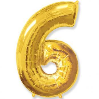 """Шар """"Цифра 6"""" Золото"""