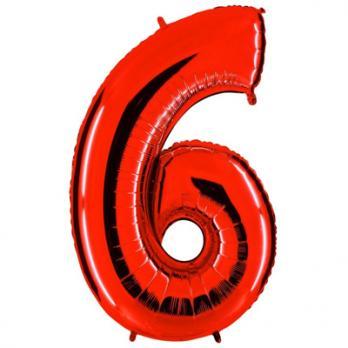 Шар Цифра 6 Красный