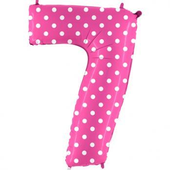 Цифра 7 Горошек на розовом