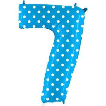 Шар Цифра 7 Горошек на голубом