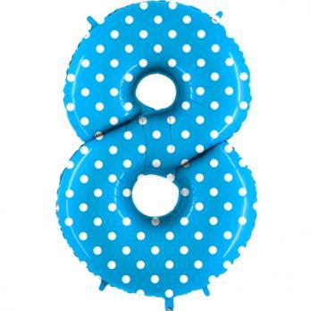 Цифра 8 Горошек на голубом