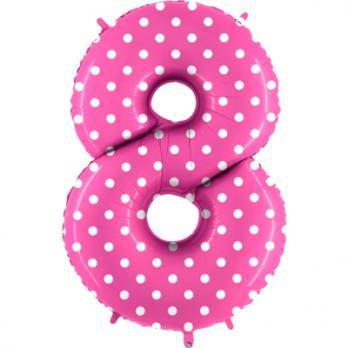 """Шар Цифра 8"""" Горошек на розовом"""