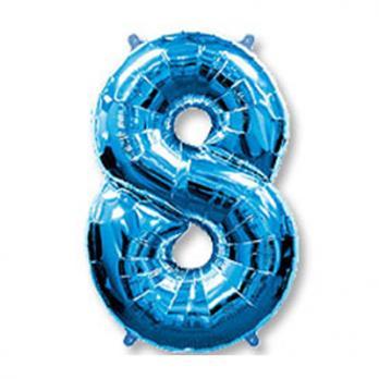 """Шар Цифра 8"""" Синий"""