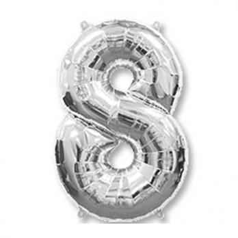 Шар Цифра 8 Серебро