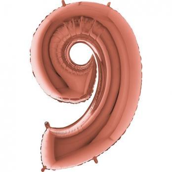 """Шар """"Цифра 9"""" Розовое золото"""