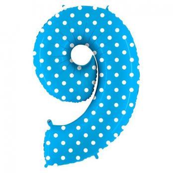 Шар Цифра 9 Горошек на голубом