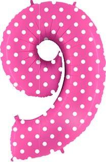 Шар Цифра 9 Горошек на розовом