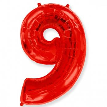 Шар Цифра 9 Красный