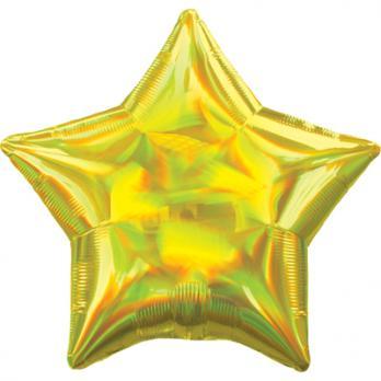 Шар фольга Блеск Звезда 45см. Желтый