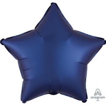 Шар фольга Звезда 45см. Сатин Темно-синий