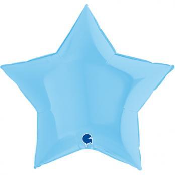 Шар фольга Звезда 90см. Пастель Светло-Синий