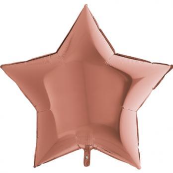 Шар фольга Звезда 90см. Металлик Розовое золото