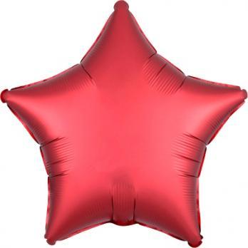 Шар фольга Звезда 45см. Сатин Красный