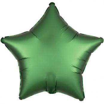 Шар фольга Звезда 45см. Сатин Зеленый