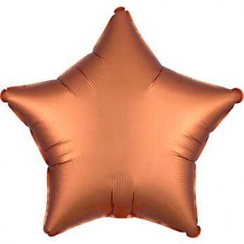 Шар фольга Звезда 45см. Сатин Оранжевый