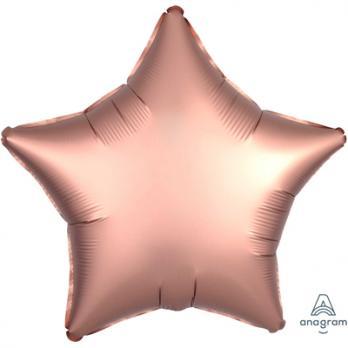 Шар фольга Звезда 45см. Сатин Розовое золото