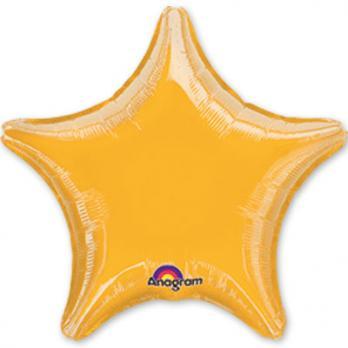 Шар фольга Звезда 45см. Металлик Желтый