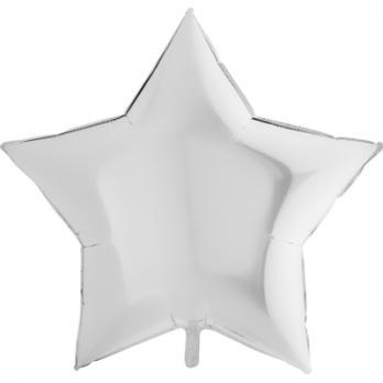 """Шар фольга """"Звезда 90см. Пастель Белый"""""""