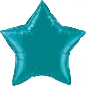 Шар фольга Звезда 90см. Металлик Бирюзовый