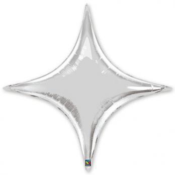 Шар фольга Звезда 4х-конечная 50см. Серебро