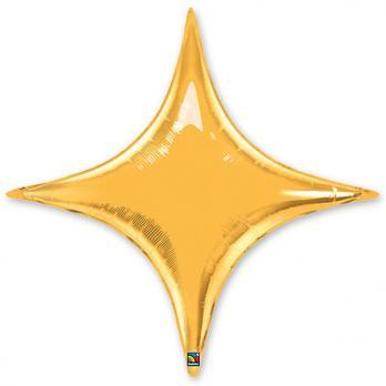 Шар фольга Звезда 4х-конечная 50см.  Золото