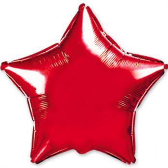Шар фольга Звезда 90см. Металлик Красный