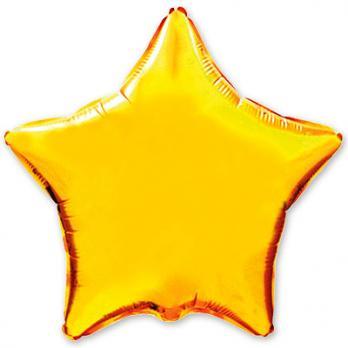 Шар фольга Звезда 90см. Металлик Золото