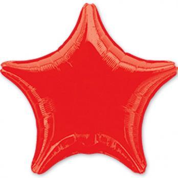 Шар фольга Звезда 45см. Металлик Красный