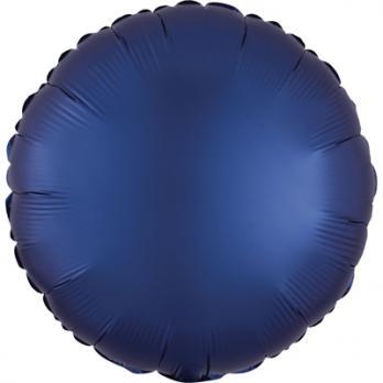 Шар фольга Круг 45см. Сатин Темно-синий
