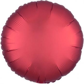 Шар фольга Круг 45см. Сатин Красный