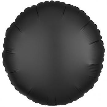 Шар фольга Круг 45см. Сатин Черный