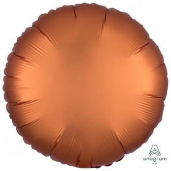 Шар фольга Круг 45см. Сатин Оранжевый