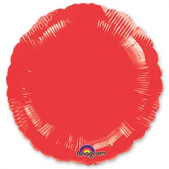 Шар фольга Круг 45см. Металлик Красный