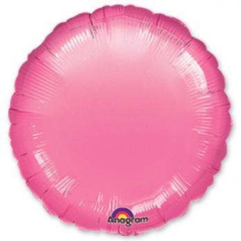 Шар фольга Круг 45см. Металлик Розовый