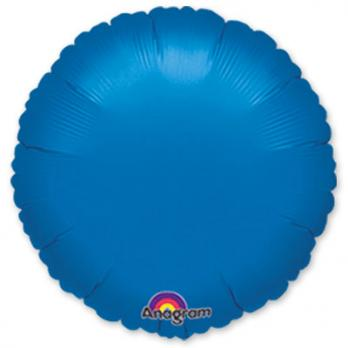 Шар фольга Круг 45см. Металлик Синий