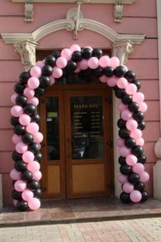 Гирлянда из шаров - черный, розовый