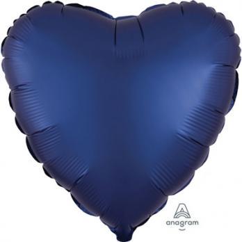 Шар фольга Сердце 45см. Сатин Темно-синий