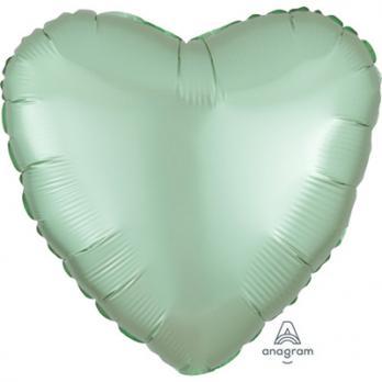 Шар фольга Сердце 45см. Сатин Мятный