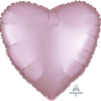 Шар фольга Сердце 45см. Сатин Розовый