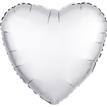 Шар фольга Сердце 45см. Сатин Белый