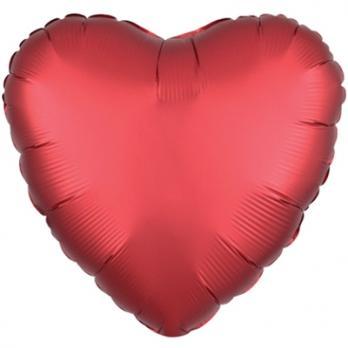Шар фольга Сердце 45см. Сатин Красный