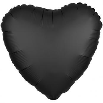 """Шар фольга """"Сердце 45см. Сатин Черный"""""""