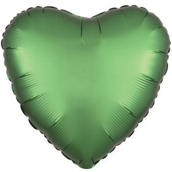 Шар фольга Сердце 45см. Сатин Зеленый