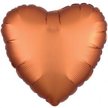 "Шар фольга ""Сердце 45см. Сатин Оранжевый"""