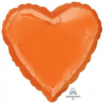 Шар фольга Сердце 45см. Металлик Оранжевый