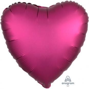 Шар фольга Сердце 45см. Сатин Бургундия